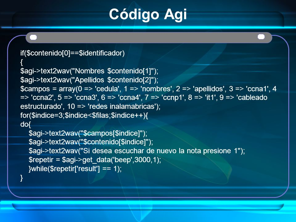 Código Agi if($contenido[0]==$identificador) {